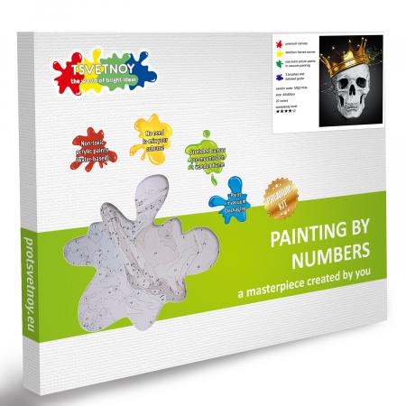 Set pictura pe numere, cu sasiu, Fashionable Skull, 40x50 cm6