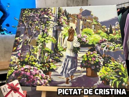 Set pictura pe numere, cu sasiu, Fata cu Flori [1]