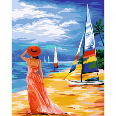 Set pictura pe numere, cu sasiu, La mare, 40x50 cm0