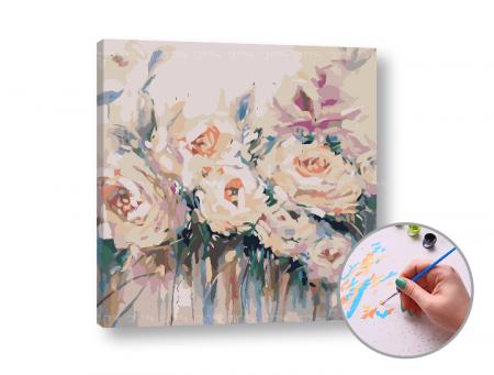 Set pictura pe numere, cu sasiu, Flori albe, 50x50 cm [0]