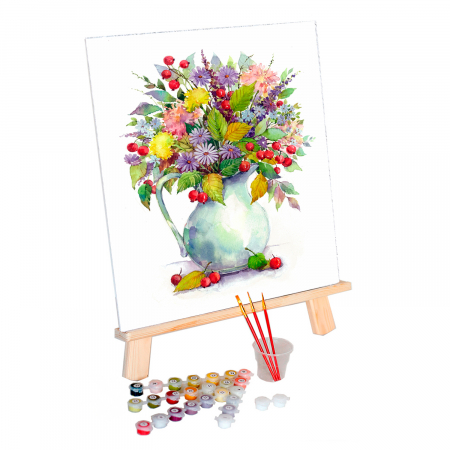 Set pictura pe numere, cu sasiu, Flori de camp 2, 40x50 cm0