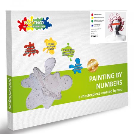 Set pictura pe numere, cu sasiu, Gorgona, 40x50 cm6
