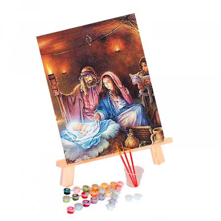 Set pictura pe numere, cu sasiu, Nasterea lui Iisus, 40x50 cm0