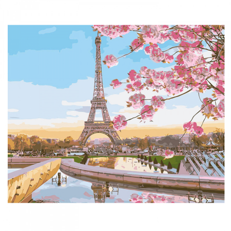 Set pictura pe numere, cu sasiu, Paris in Blossom, 40x50 cm0