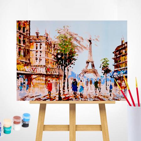 Set pictura pe numere, cu sasiu, Impresie din Paris, 40x50 cm1