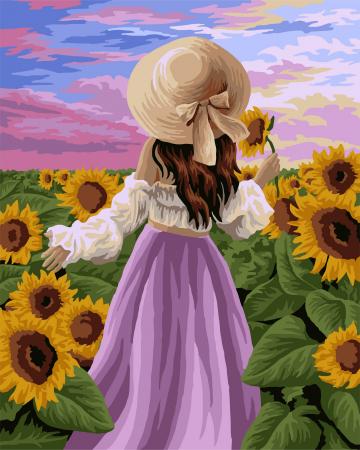 Set pictura pe numere, cu sasiu, Lan de floarea soarelui, 40x50 cm0