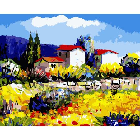Set pictura pe numere, cu sasiu, Provence, 40x50 cm0
