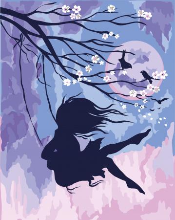 Set pictura pe numere, cu sasiu, Leagan Sakura, 40x50 cm0