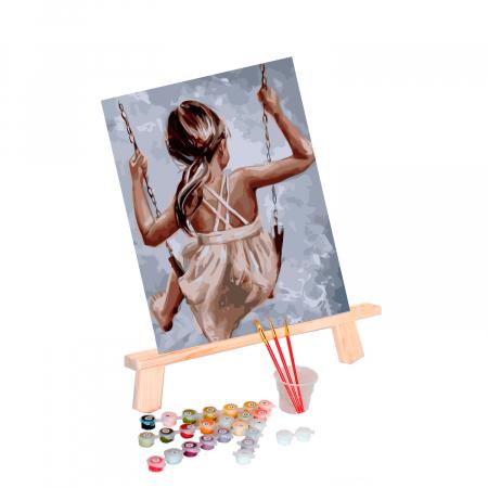 Set pictura pe numere, cu sasiu, Leagan, 40x50 cm0
