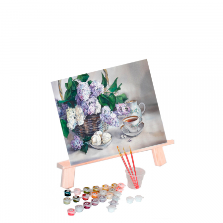 Set pictura pe numere, cu sasiu, Liliac, 40x50 cm0