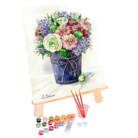 Set pictura pe numere, cu sasiu, Liliac in vaza, 40x50 cm0