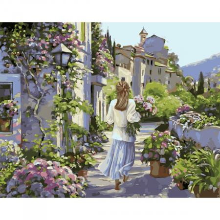 Set pictura pe numere, cu sasiu, Fata cu flori, 40x50 cm0