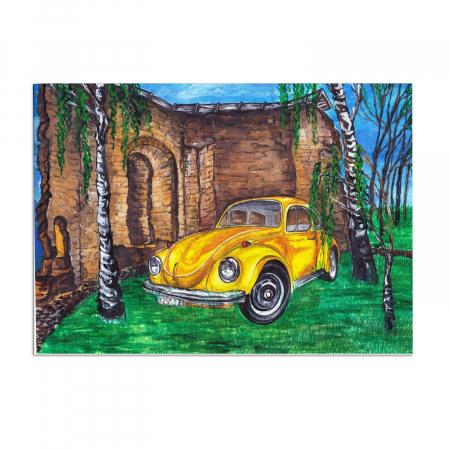 Set pictura pe numere, cu sasiu, Masina galbena, 30x40 cm0