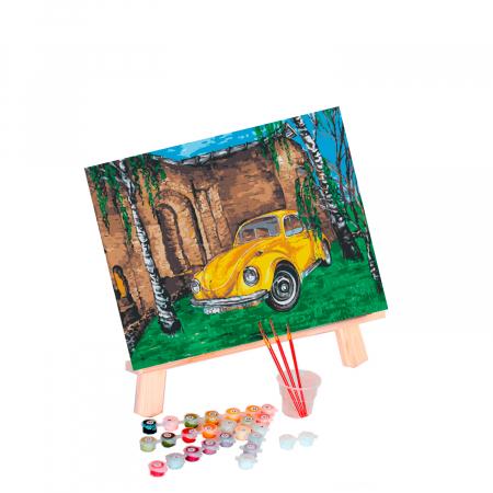 Set pictura pe numere, cu sasiu, Masina galbena, 30x40 cm1