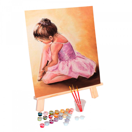 Set pictura pe numere, cu sasiu, Balerina baby, 40x50 cm0
