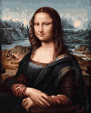 Set pictura pe numere, cu sasiu, Mona Lisa, 40x50 cm0
