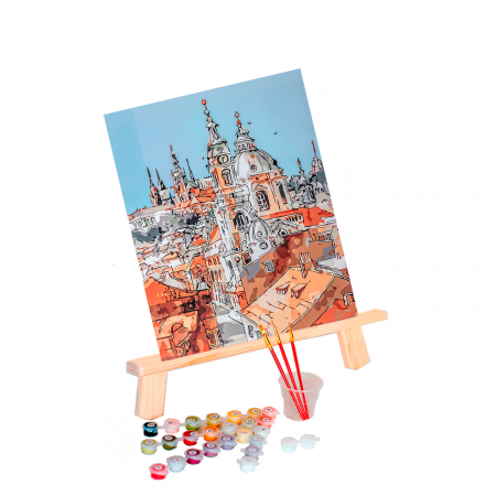 Set pictura pe numere, cu sasiu, Towers of the Old Town, 40x50 cm0