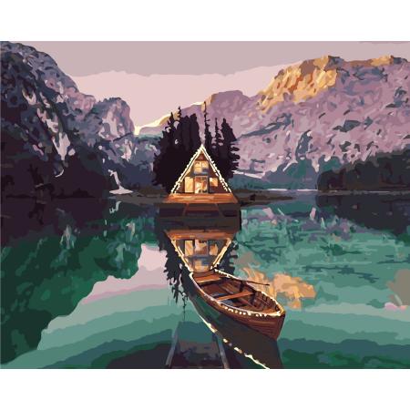 Set pictura pe numere, cu sasiu, Peisaj alpin, 40x50 cm0