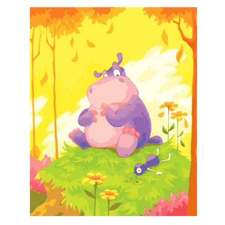 Set pictura pe numere, cu sasiu, Hippo, 40x50 cm0
