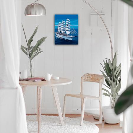 Set pictura pe numere, cu sasiu, Corabie alba, 40x50 cm2