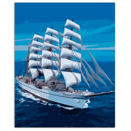 Set pictura pe numere, cu sasiu, Snow-white Sailboat, 40x50 cm1