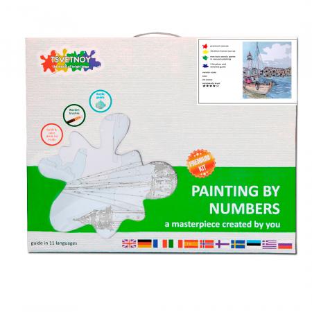 Set pictura pe numere cu sasiu, Oras de coasta, 40x50 cm3