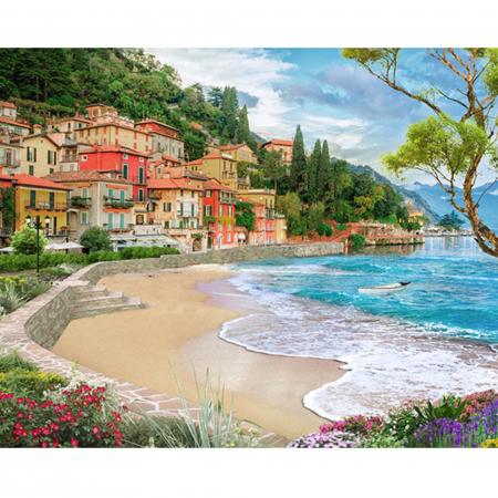 Set pictura pe numere, cu sasiu, Oras la mare, 40x50 cm0