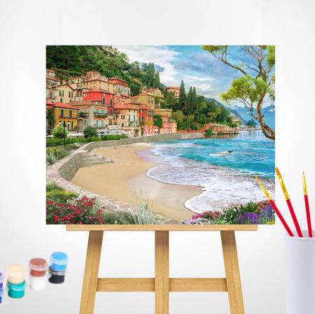 Set pictura pe numere, cu sasiu, Oras la mare, 40x50 cm1
