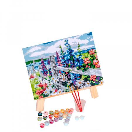 Set pictura pe numere, cu sasiu, Village Outskirts, 30x40 cm0