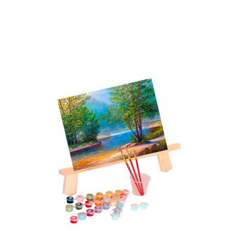 Pictura pe numere, cu sasiu, Peisaj langa Lac [1]