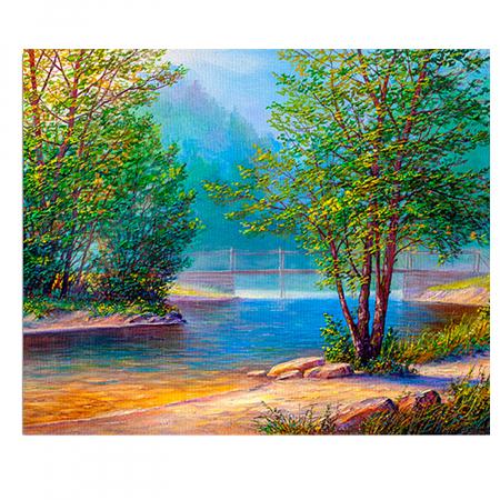 Pictura pe numere, cu sasiu, Peisaj langa Lac [0]