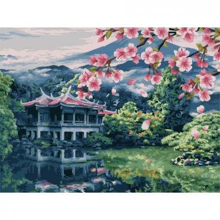 Set pictura pe numere, cu sasiu, Peisaj Oriental, 40x50 [0]