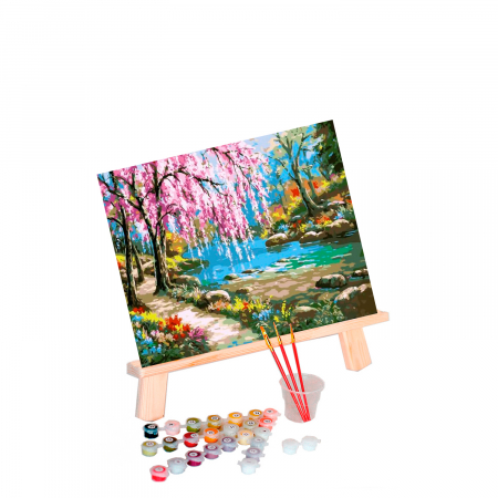 Set pictura pe numere, cu sasiu, Sakura by the river, 40x50 cm0