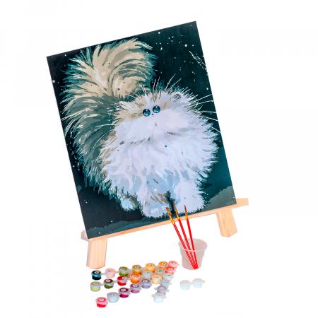 Set pictura pe numere, cu sasiu, Pisica pufoasa, 30x40 cm3