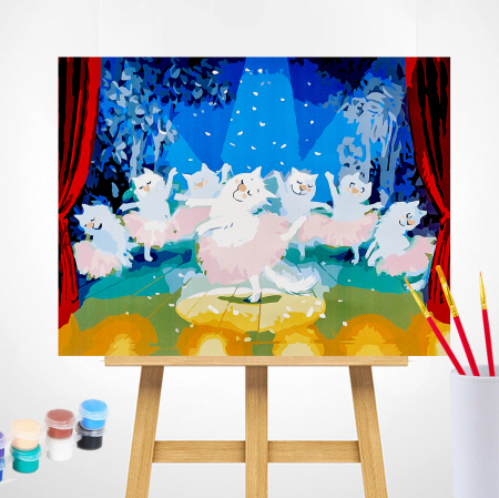 Set pictura pe numere, cu sasiu, Pisici - balerine [1]