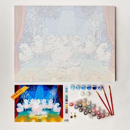 Set pictura pe numere, cu sasiu, Pisici - balerine [2]