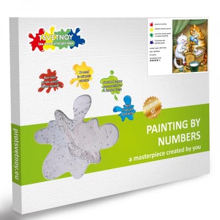 Set pictura pe numere, cu sasiu, Pisici - Familia Fericita, 30x40 cm [2]