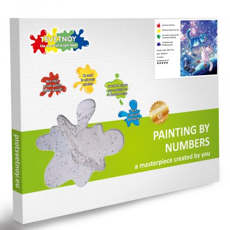 Set pictura pe numere, cu sasiu, Pisici - in univers 30x40 cm [4]