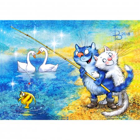 Set pictura pe numere, cu sasiu, Pisici - la pescuit 30x40 cm [0]