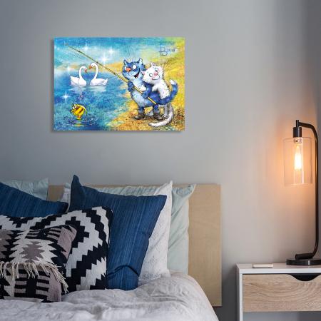 Set pictura pe numere, cu sasiu, Pisici - la pescuit 30x40 cm [2]