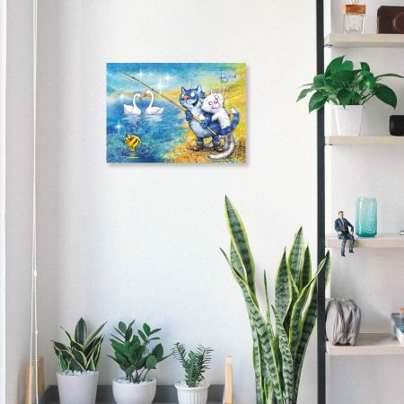 Set pictura pe numere, cu sasiu, Pisici - la pescuit 30x40 cm [3]