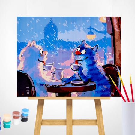 Set pictura pe numere, cu sasiu, Pisici - Rendezvous 30x40 cm [0]