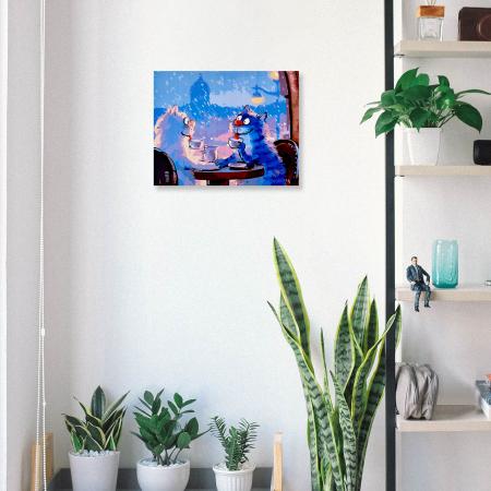 Set pictura pe numere, cu sasiu, Pisici - Rendezvous 30x40 cm [4]