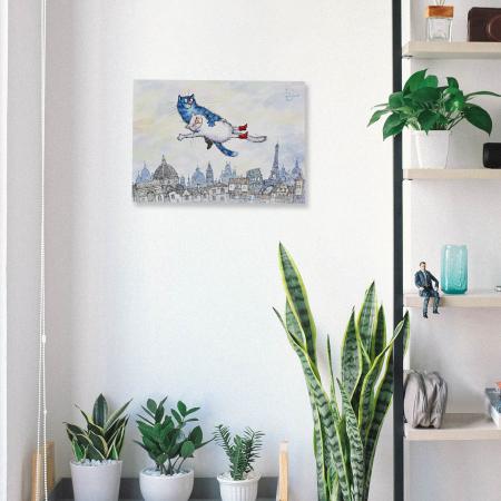 Set pictura pe numere cu sasiu, Pisici - Zbor in Vis 30x40 cm [4]