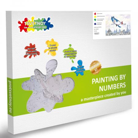 Set pictura pe numere cu sasiu, Pisici - Zbor in Vis 30x40 cm [5]
