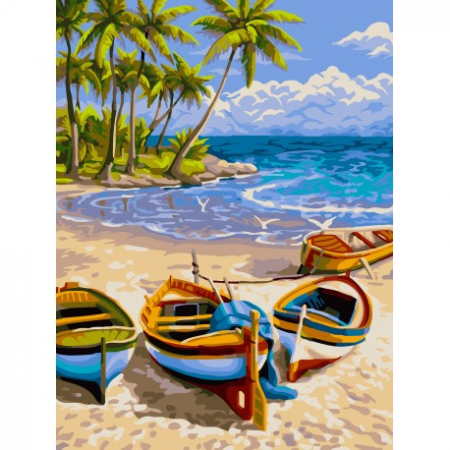 Set pictura pe numere, cu sasiu, Plaja, 40x50 cm0