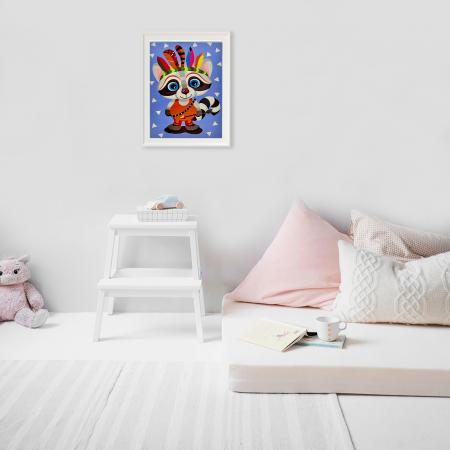 Set pictura pe numere, cu sasiu, Raton indian 20x30 cm3