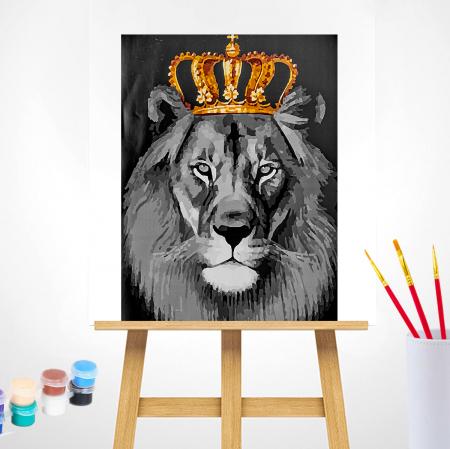 Set pictura pe numere, cu sasiu, Regele leu, 40x50 cm1