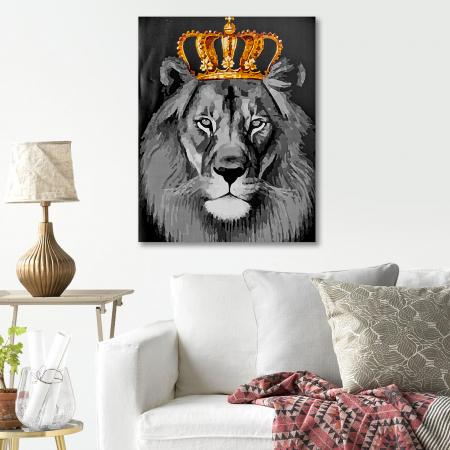 Set pictura pe numere, cu sasiu, Regele leu, 40x50 cm4