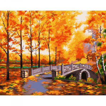 Set pictura pe numere, cu sasiu, Toamna in parc, 40x50 cm0